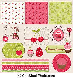元素, 编辑, 樱桃, -, 设计, 容易, 剪贴簿