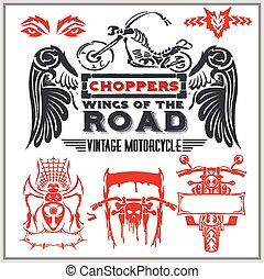 元素, 葡萄酒, set., -, 標籤, 矢量, 設計, 摩托車, 徽章