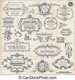 元素, 装饰, 框架, 收集, calligraphic, 矢量, 设计, 葡萄收获期, 页, set: