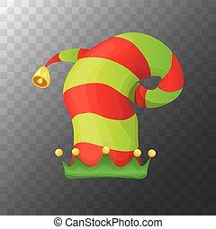 元素, 裝飾的設計, 鮮艷, 圖象, 膽戰心惊, 矢量, 聖誕節, 被隔离, 孩子, 透明, 紅色綠色, 帽子, 卡通, label., 小精靈, 背景。, 或者, 剝去