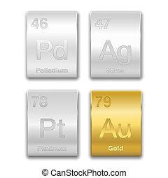 元素, 金, 化學制品, 銀, palladium, 白金