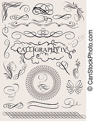 元素, calligraphic, 装饰, 矢量, 设计, 页, set: