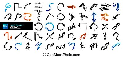 元素, mega, 箭, icons., 遞 集合, 設計, 箭, 畫, doodles
