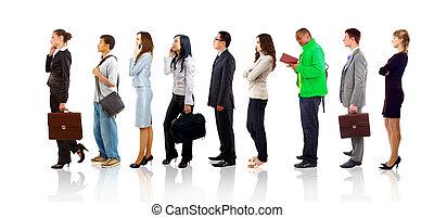 充分的 長度 畫像, ......的, 男人和女人, 站立, 一起, 在一線內