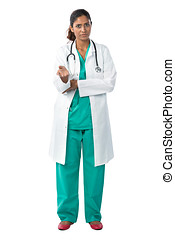 充分的 長度 畫像, ......的, a, 女性 醫生