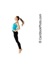 充分的 長度 畫像, ......的, a, 年輕, 跳躍, 女孩, 在, 運動裝