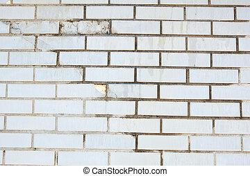 充分, 牆框架, 綠色, grungy, 被爆裂, 磚