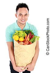 充分, 蔬菜, 袋子, 紙, 水果, 人