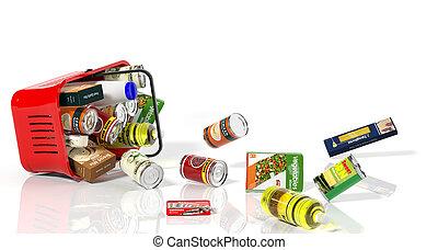 充分, 購物籃, 由于, 產品, 落下, 在外, 被隔离, 在懷特上