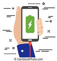 充満, スクリーン, 保有物, 稲光, 最小である, 平ら, 手, 電池, 移動式 電話, シンボル