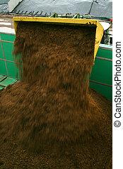 充満, 植物, biogas, トラクター