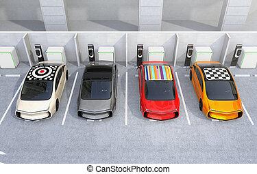 充満, ev, 電気である, 駅, 自動車
