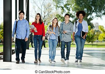 充滿信心, 學生, 步行, 在一行中, 上, 校園