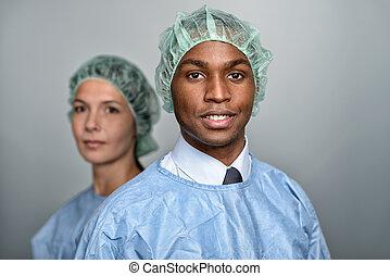 充滿信心, 醫療 專家, 在, 外科, 長袍