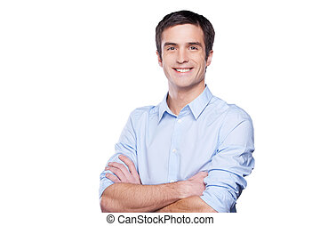充滿信心, businessman., 肖像, ......的, 漂亮, 年輕人, 在, 藍色的襯衫, 看 照相機,...