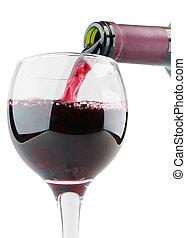 充滿, 玻璃, 由于, 紅的酒