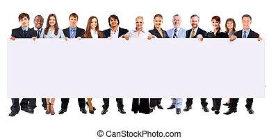 充足长度, 在中, 许多, 商务人士, 在一行中, 握住, a, 空白, 旗帜, 隔离, 在怀特上, 背景