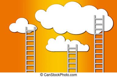 先導, はしご, の上, 雲