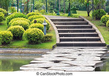 先導, 上に, 公園, 湖, コンクリート, ステップ, 通り道, によって
