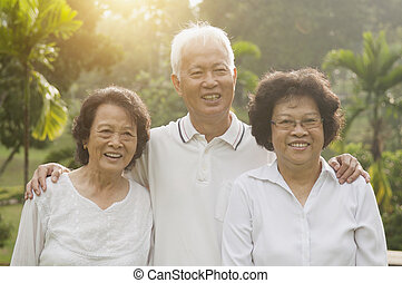 先輩, 公園, 屋外, グループ, アジア人