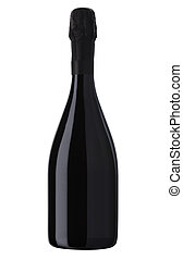 光っていること, 白ワイン, びん, シャンペンの びん, 隔離された, 上に, a, 白い背景