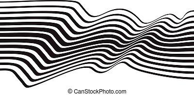 光学, 芸術, opart, しまのある, 波状, 背景, 抽象的, 波, 黒い、そして白い
