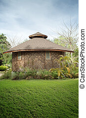 光景, の, すてきである, 竹, 小屋, 中に, 夏, 環境