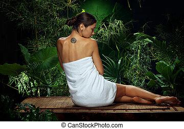 光景, の, すてきである, 若い女性, 瞑想する