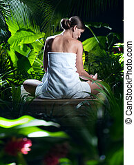 光景, の, すてきである, 若い女性, 瞑想する, 中に, エステ, tropic, 環境