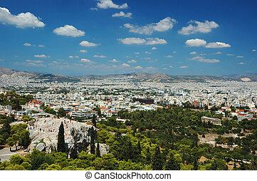 光景, の, アテネ, 屋根, そして, areipagus, 丘, から, アクロポリス