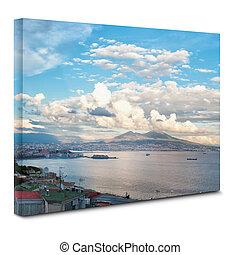 光景, の, ナポリ, 湾, 上に, キャンバス