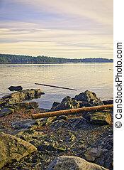 光景, の, 移動, 浜, ∥において∥, 日没, 中に, バンクーバーの 島, bc州, カナダ
