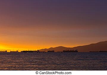 光景, の, 貨物船, から, 日没 浜, バンクーバー, bc州