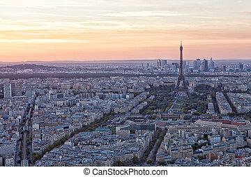 光景, の, eiffel タワー, 上に, a, 日没, パリ