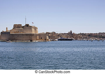光景, の, valletta, 都市, 中に, malta.