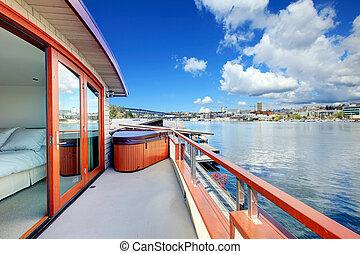 光景, の, walkout, デッキ, の, ボート, house., 湖 ワシントン州