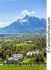 光景, へ, ∥, 古い 都市, の, ザルツブルグ, から, 城, hohensalzburg, 丘