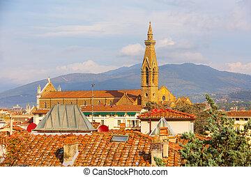 光景, イタリア, croce, santa, 航空写真, フィレンツェ
