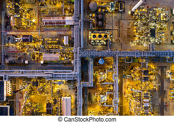 光景, オイル, 航空写真, refinery.