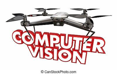 光景, カメラ, デジタル, コンピュータ, 無人機, イラスト, ビジョン, 3d