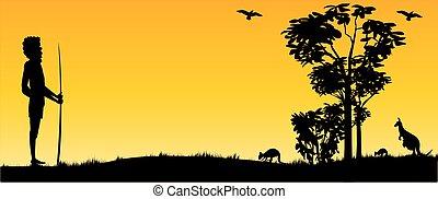 光景, カンガルー, パノラマ, 日没, 人, オーストラリア人