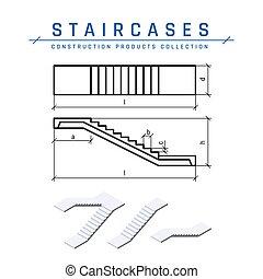 光景, スタイル, ベクトル, 上, 平ら, 階段