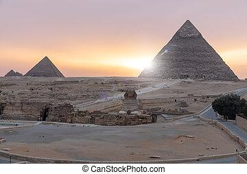 光景, スフィンクス, giza:, 日の出, ピラミッド