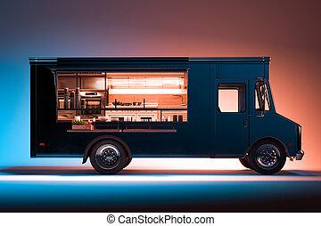 光景, テークアウト, 側, バックグラウンド。, rendering., 食品。, 詳しい, 隔離された, 黒, 食物, トラック, 内部, 3d, 照らされた