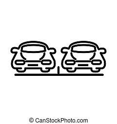 光景, デザイン, アイコン, スタイル, 自動車, 前部, 輸送, 線, 駐車