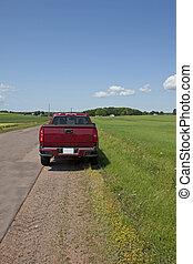 光景, トラック, 後部, 路傍