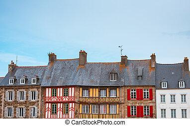 光景, フランス語, bretagne, 典型的, パノラマである, 家