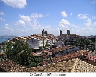 光景, ブラジル, 屋根, pelourinho