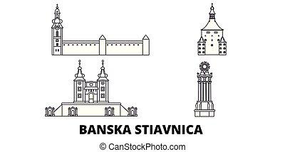 光景, ベクトル, シンボル, landmarks., stiavnica, 旅行, 線, set., スカイライン, スロバキア, 都市, イラスト, banska, アウトライン