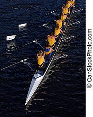 光景, ボート競技, action., 航空写真, クルー